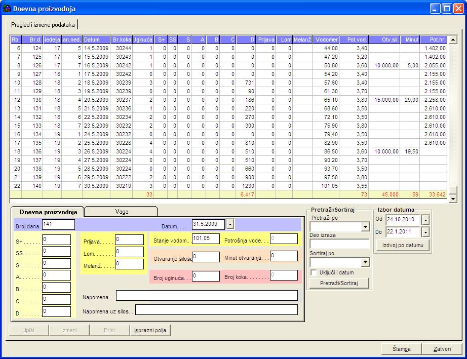 Prozor za evidenciju podataka živinarske farme potrebnih za generisanje statističkih podataka